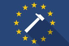 European Union  long shadow flag with a hammer Stock Illustration