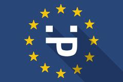 European Union  long shadow flag with a sticking out tongue text face - stock illustration