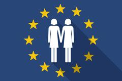 European Union  long shadow flag with a lesbian couple pictogram - stock illustration