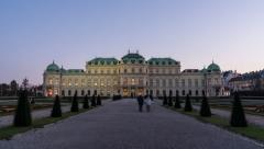 Time Lapse of the sunset at the Upper Belvedere Palace in Vienna / Austria Stock Footage