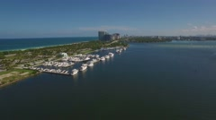 Aerial video along Haulover Marina, Miami, Florida. 4k, Ultra HD, real time. Stock Footage