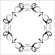 Black abstract decorative frame in vintage style - stock illustration