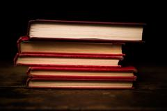 Stack of hardcover books - stock photo