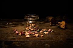 Romantic scene of scattered rosebuds Stock Photos