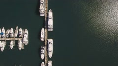 Top view Aerial video of Haulover Marina, Miami. Camera moves along marina. 4k. Stock Footage