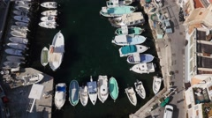 Vallon des Auffes, an old fishing village near Marseille, France, by drone Stock Footage