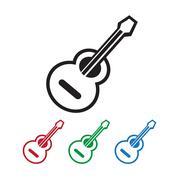 acoustic guitar icon - stock illustration