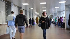 People traffic in the hall of City Clinical Hospital 15 in Moscow. Stock Footage