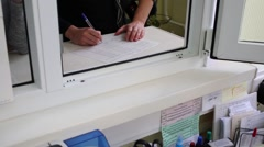 Window of front desk in City Clinical Hospital 15 in Moscow. Stock Footage
