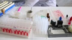 Table with laboratory facilities for taking blood tests. Stock Footage