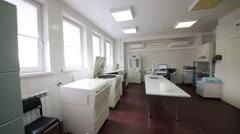 Laboratory room with equipment for blood treatment. Stock Footage
