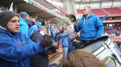 Drummer fan of Dinamo on grandstand of Locomotive stadium Stock Footage