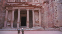 Al Khazneh or The Treasury at Petra city in Jordan Stock Footage