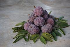 Thai native sweet fruit in purple custard apple - stock photo