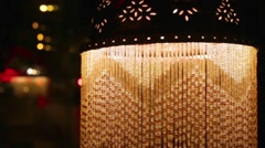 Beautiful lamp decorated in oriental style at dark room. Stock Footage