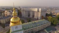 Ministry of Foreign Affairs of Ukraine near the Dnieper river. Aerial view - stock footage