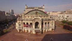 Aerial shots of Kiev National Academic Theater of Opera and Ballet Stock Footage