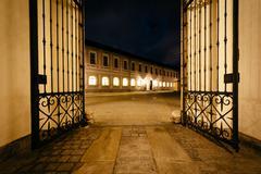 Gate of the Brunnenhof Courtyard at Munich Residenz at night, in Munich, Germ - stock photo