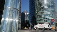 Tilt down the modern art and architecture of Potsdamer Platz - stock footage