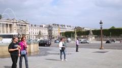 Fountain Des Mers at Place de la Concorde in Paris. Stock Footage