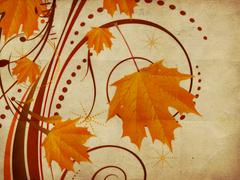 Autumn ornament with maple leaves - stock illustration