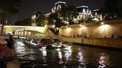 Pleasure boat trimaran Isabelle Adjani with passengers floats Stock Footage