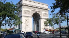 Transport traffic near Arch of Triumph at day time. Stock Footage