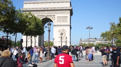 People walk and have rest on square near  Arch of Triumph Stock Footage