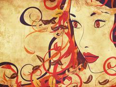 Stock Illustration of Beautiful grunge autumn girl