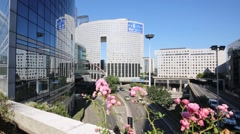 Modern skyscrapers of La Defense district in Paris. Stock Footage