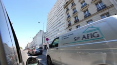 Car moves along Avenue de Flandre in Paris. Stock Footage