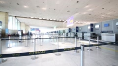 People in hall of terminal of Paris Charles al Gaulle Airport. Stock Footage