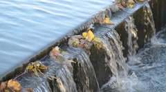 Canal Waterfall Autumn Stock Footage