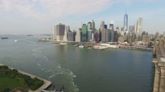 Aerial shot of Brooklyn Bridge and Downtown, New York. Right direction. 4K. - stock footage