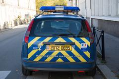 Car of french police semi-military police force in France - stock photo