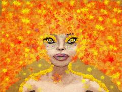 Fantasy autumn girl - stock illustration