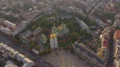 Aerial filming of St. Sofia Cathedral - the world famous historical monument. Stock Footage