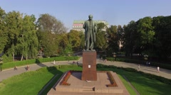 Green central park with the T.Shevchenko monument in Kiev. Aerial view. Stock Footage