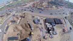 Construction site of MKZD North-Eastern Tunnel near highway - stock footage