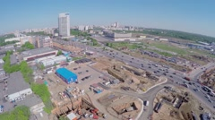 Construction site of MKZD North-Eastern Tunnel and city traffic Stock Footage