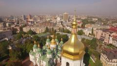 Aerial filming of St. Sofia Cathedral - the world famous historical monument. - stock footage