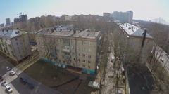 Dwelling sector in megalopolis at spring sunny day. Aerial view - stock footage