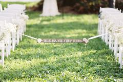 Wedding banner attached to white Stock Photos