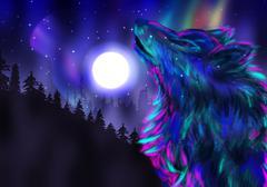 Howling Wolf Spirit - stock illustration