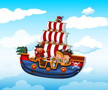 Boy and girl riding on viking with pirate - stock illustration