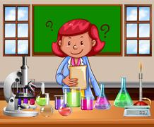 Science teacher doing the lab - stock illustration