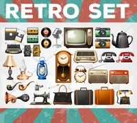 Different kind of retro objects - stock illustration