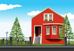 Red house by the road Stock Illustration
