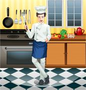 Chef working in the kitchen - stock illustration