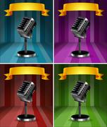 Microphones in four background colors Stock Illustration